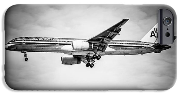 Airliner iPhone Cases - Amercian Airlines Airplane in Black and White iPhone Case by Paul Velgos
