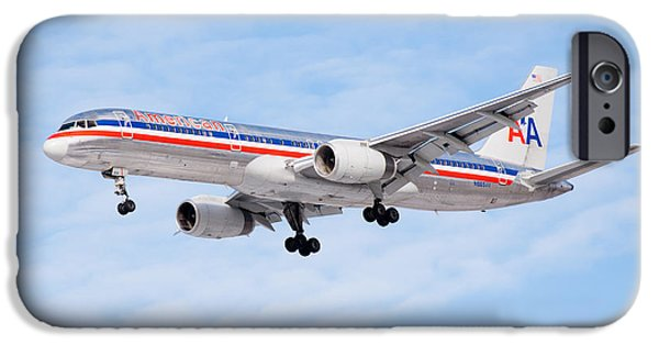 Flight iPhone Cases - Amercian Airlines Boeing 757 Airplane Landing iPhone Case by Paul Velgos