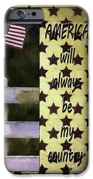 Flag iPhone Cases - America Always iPhone Case by Jean OKeeffe Macro Abundance Art
