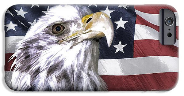 Eagle With Red Eye iPhone Cases - America iPhone Case by Linda  Blair