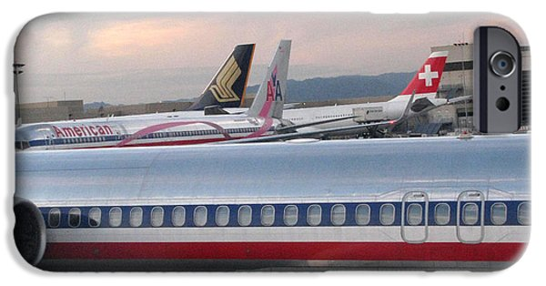 Jet Pyrography iPhone Cases - American Airline Jets iPhone Case by Russell Einhorn