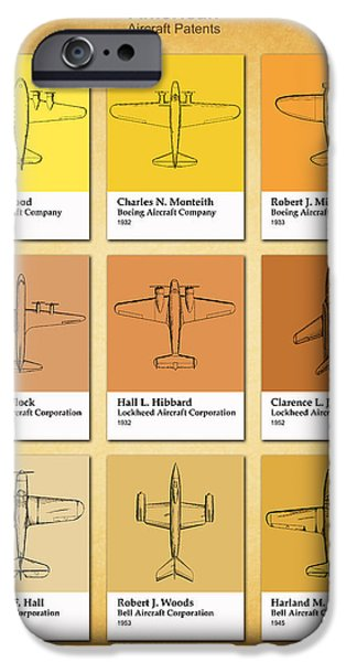Airplane Photographs iPhone Cases - American Airplane Patents iPhone Case by Mark Rogan