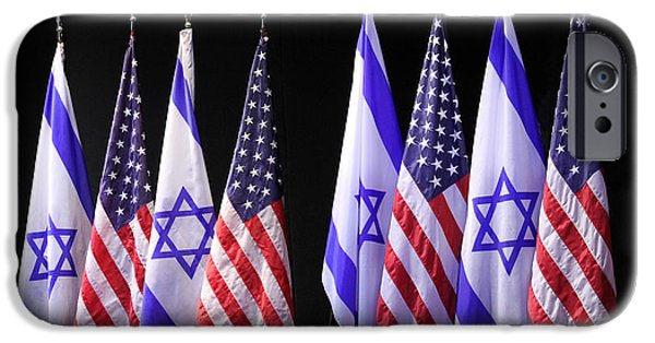 Lilachw iPhone Cases - American and Israeli Flags  iPhone Case by Lilach Weiss