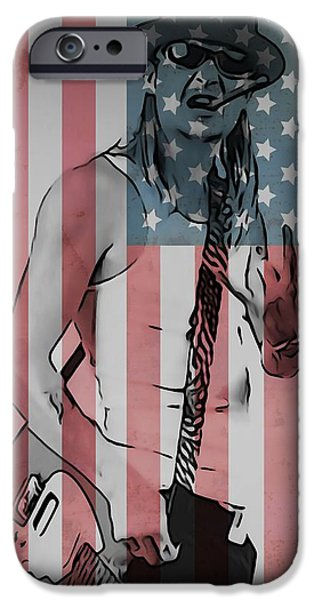 American Flag Digital iPhone Cases - American Badass iPhone Case by Dan Sproul