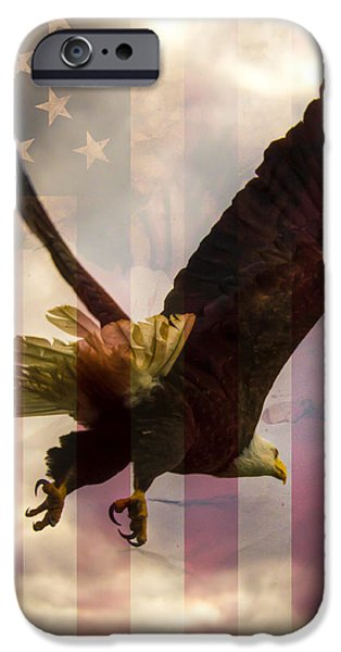 Best Sellers -  - 4th July Photographs iPhone Cases - American Bald Eagle In Flight wtih Flag iPhone Case by Natasha Bishop