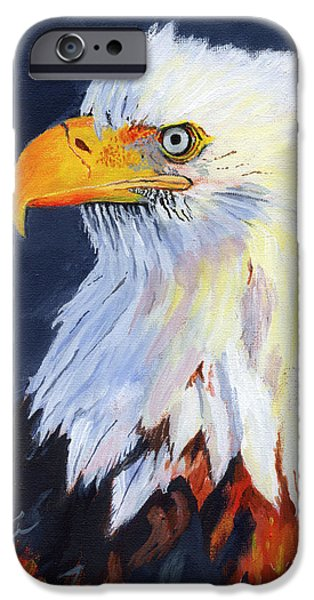 Yellow Beak Paintings iPhone Cases - American Bald Eagle iPhone Case by Mike Lester