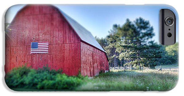 Farm iPhone Cases - American Barn iPhone Case by Sebastian Musial