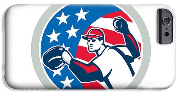 Baseball Glove iPhone Cases - American Baseball Pitcher Throwing Ball Retro iPhone Case by Aloysius Patrimonio
