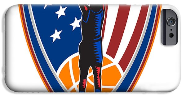 American Basketball Player iPhone Cases - American Basketball Player Dunk Ball Shield Retro iPhone Case by Aloysius Patrimonio