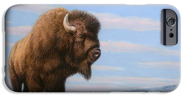 Animal Drawings iPhone Cases - American Bison iPhone Case by James W Johnson