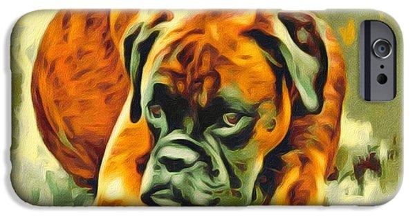 Boxer Digital iPhone Cases - American boxer Portrait iPhone Case by Scott Wallace