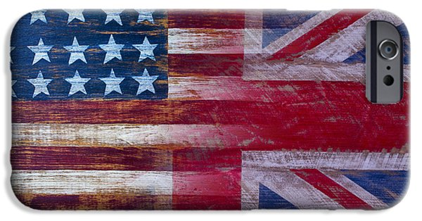 Merging iPhone Cases - American British Flag 2 iPhone Case by Garry Gay