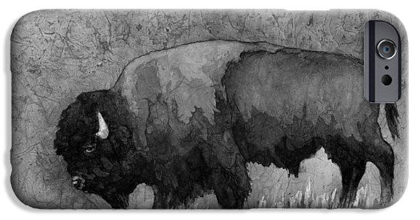 Bison iPhone Cases - Monochrome American Buffalo 3  iPhone Case by Hailey E Herrera