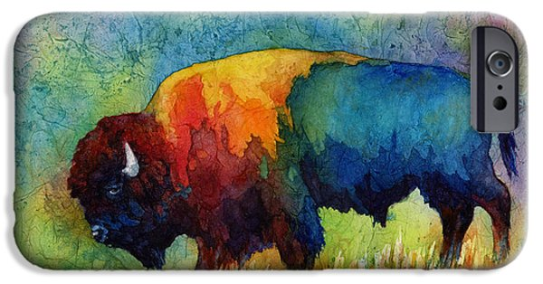 Featured Paintings iPhone Cases - American Buffalo III iPhone Case by Hailey E Herrera