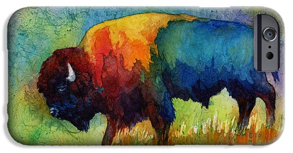 Watercolor iPhone Cases - American Buffalo III iPhone Case by Hailey E Herrera