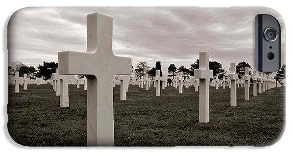 Historic Site iPhone Cases - American Cemetery in Normandy  iPhone Case by Olivier Le Queinec