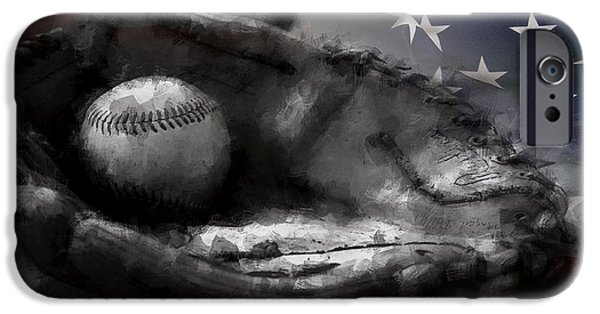 Baseball Glove iPhone Cases - American Classic iPhone Case by Daniel Hagerman