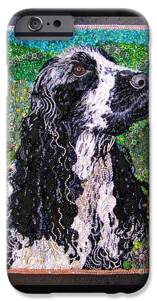Black Dog Jewelry iPhone Cases - American cocker spaniel Beadwork bead embroidery iPhone Case by Sofia Metal Queen