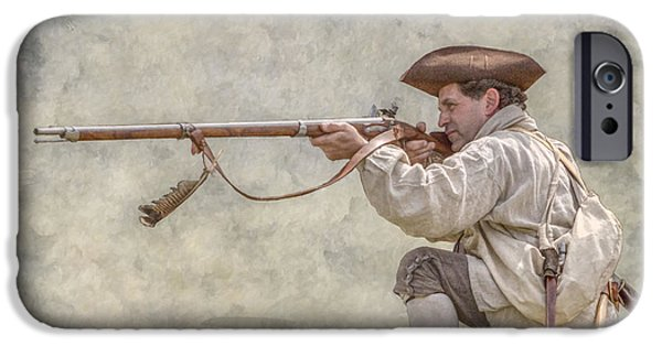 Recently Sold -  - American Revolution iPhone Cases - American Colonial Militia Rifleman iPhone Case by Randy Steele
