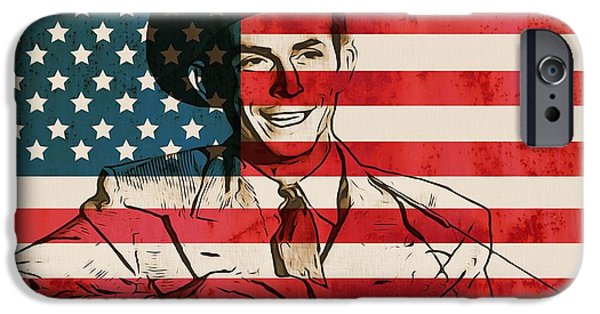Red White And Blue Mixed Media iPhone Cases - American Country Singer Hank Williams iPhone Case by Dan Sproul