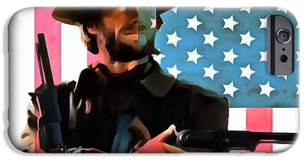 Red White And Blue Mixed Media iPhone Cases - American Cowboy Clint Eastwood iPhone Case by Dan Sproul