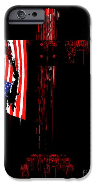 Flag iPhone Cases - American cross iPhone Case by Wagner WM