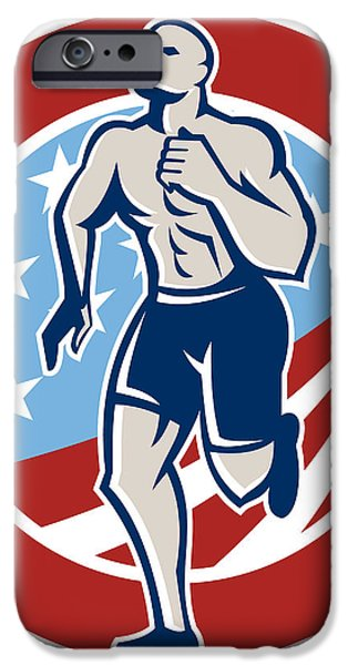 American Crossfit Runner Running Retro iPhone Case by Aloysius Patrimonio