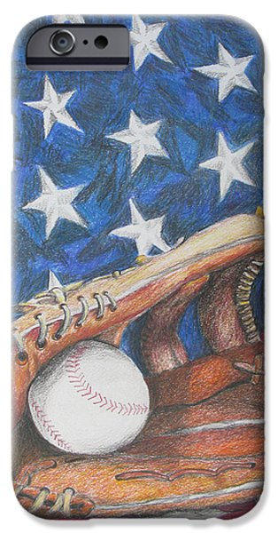 Baseball Glove Drawings iPhone Cases - American Dream iPhone Case by Rob Monte