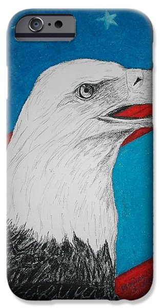 Best Sellers -  - 4th July Mixed Media iPhone Cases - American Eagle iPhone Case by Maricay Smeenk