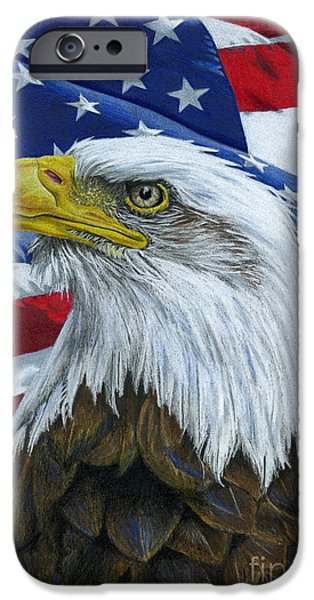 4th July Drawings iPhone Cases - American Eagle iPhone Case by Sarah Batalka