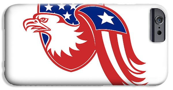 Flag iPhone Cases - American Eagle Stars and Stripes Flag Shield Retro iPhone Case by Retro Vectors