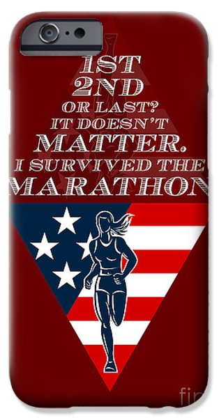 American Female Marathon Runner Retro Poster iPhone Case by Aloysius Patrimonio