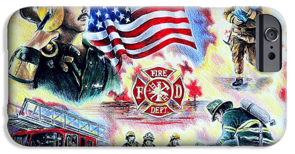 Uniform Drawings iPhone Cases - American Firefighters iPhone Case by Andrew Read
