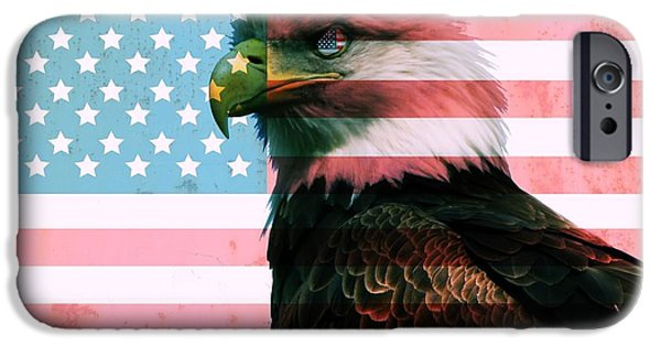 Fourth Of July iPhone Cases - American Flag And Bald Eagle iPhone Case by Dan Sproul