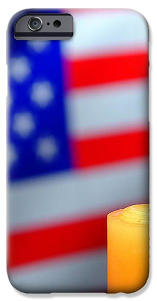 American Flag and Candle iPhone Case by Olivier Le Queinec