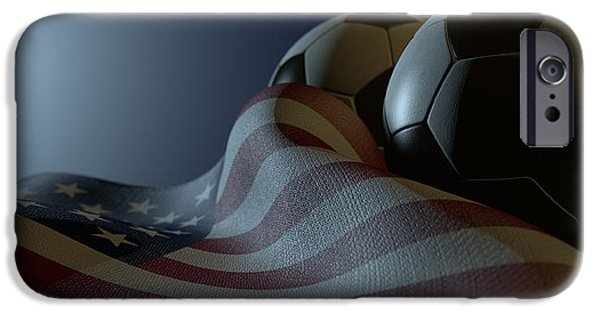 Round Digital iPhone Cases - American Flag And Soccer Ball iPhone Case by Allan Swart