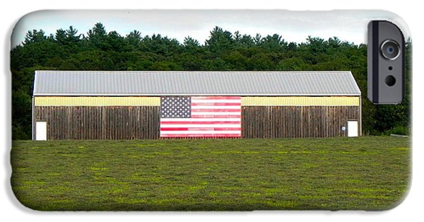 Concord Massachusetts iPhone Cases - American flag barn iPhone Case by Brian Mooney