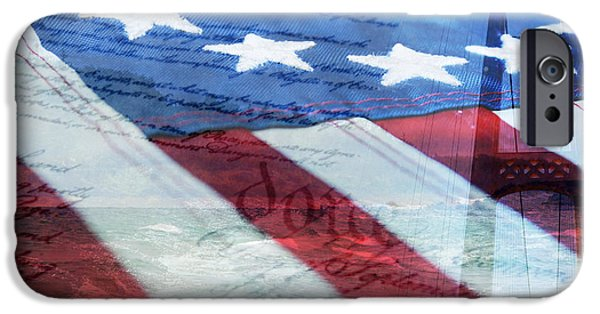 Rollo Digital Art iPhone Cases - American Flag iPhone Case by Christina Rollo