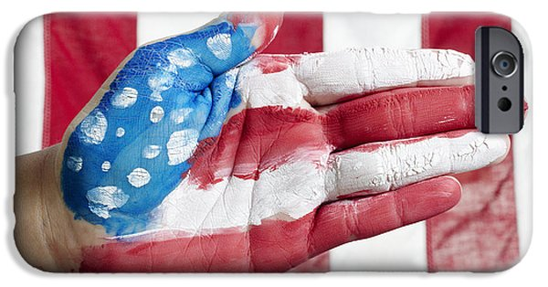 Fourth Of July iPhone Cases - American Flag Hand iPhone Case by Skip Nall