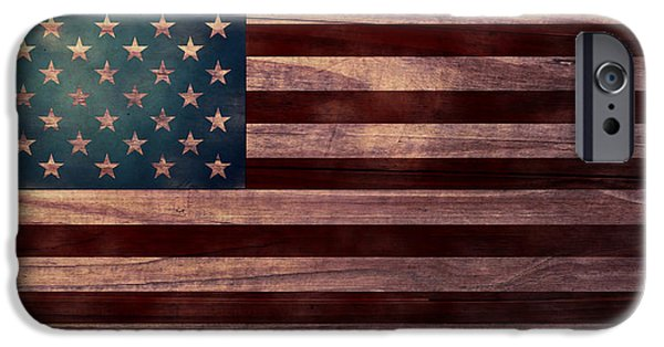 July 4th Digital Art iPhone Cases - American Flag I iPhone Case by April Moen