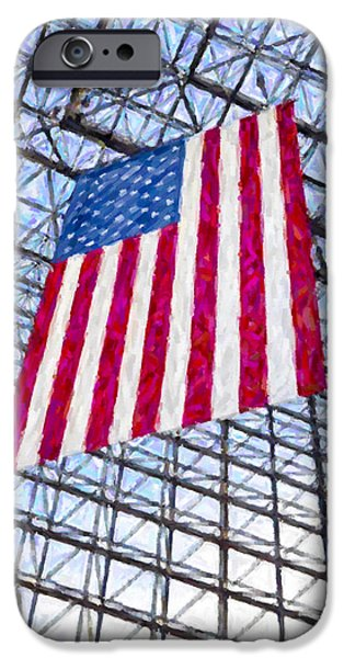 Massachusetts State Flag Digital iPhone Cases - American Flag in the Kennedy Library Botson iPhone Case by Liz Leyden