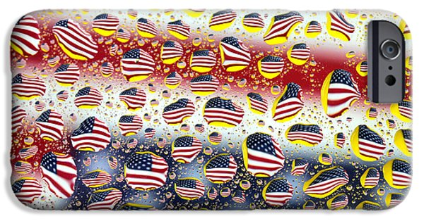 American Flag iPhone Cases - American flag in water drops iPhone Case by Paul Ge