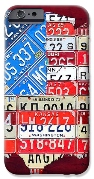 American Flag Map of the United States in Vintage License Plates iPhone Case by Design Turnpike