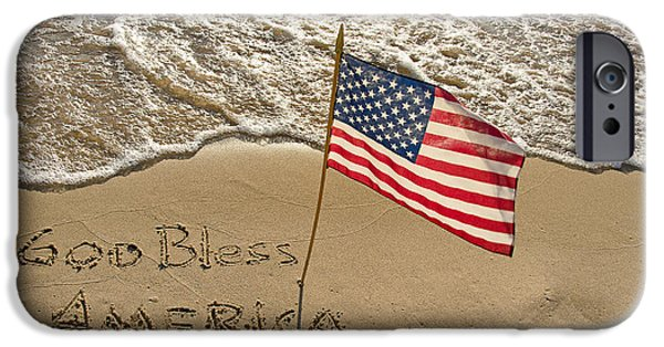 Flag iPhone Cases - American flag on beach iPhone Case by Maria Dryfhout