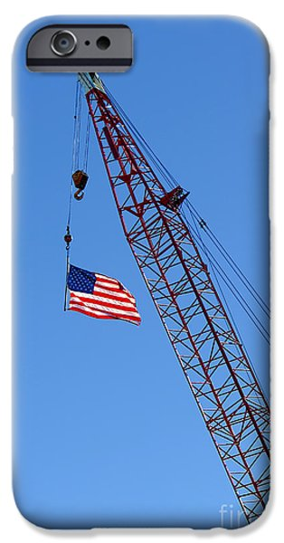 American Flag on Construction Crane iPhone Case by Olivier Le Queinec