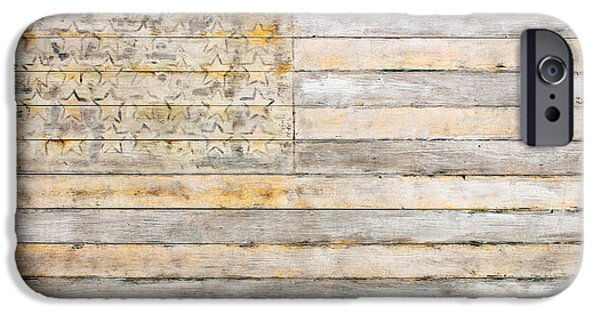 American Mixed Media iPhone Cases - American Flag on Distressed Wood Beams White Yellow Gray and Brown Flag iPhone Case by Design Turnpike