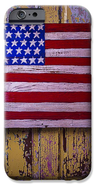Chip iPhone Cases - American Flag On Old Door iPhone Case by Garry Gay