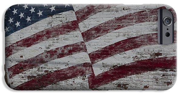 Flag Colors iPhone Cases - American flag painted on brick wall iPhone Case by Keith Kapple