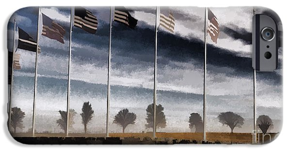 Old Glory iPhone Cases - American Flag Still Standing iPhone Case by Luther   Fine Art