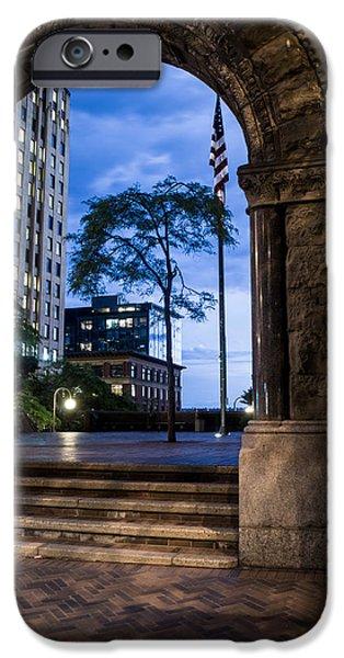 United iPhone Cases - American Flag through the Burke Building Arch iPhone Case by Steve Garvin